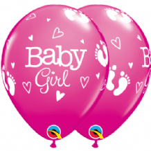 Baby Girl Footprints & Hearts - 11 Inch Balloons 25pcs